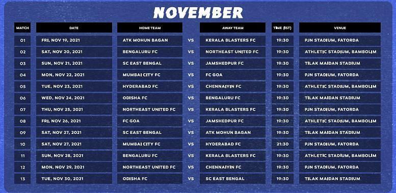 ISL Fixtures in November