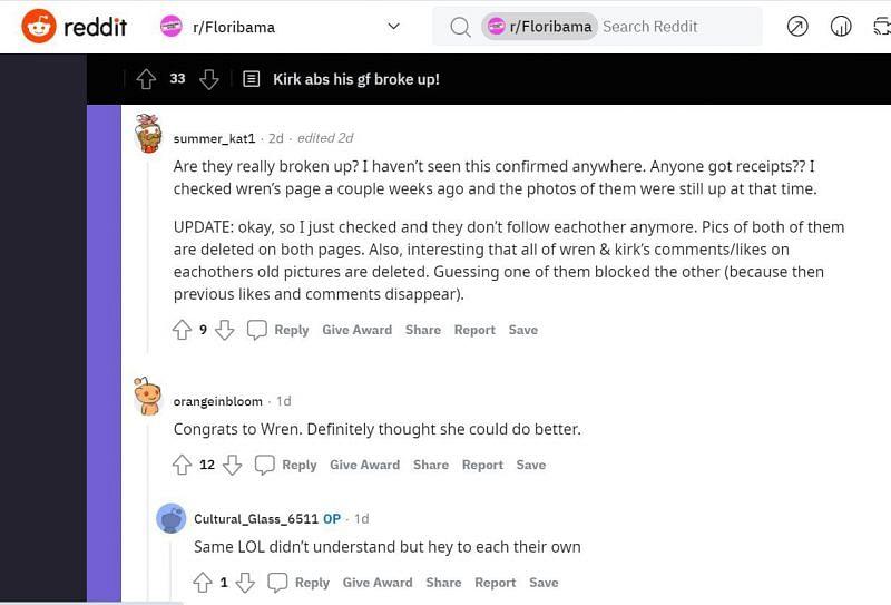 Reddit users discussing Kirk Medas and Wren Marie's relationship (Image via Reddit)