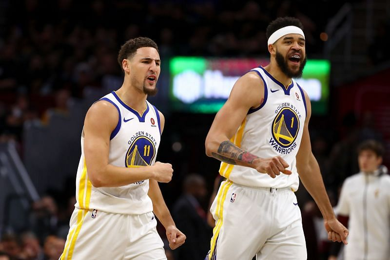 Klay Thompson and JaVale McGee of the Golden State Warriors in the 2018 NBA Finals.