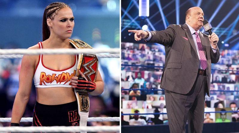 Former WWE RAW Women's Champion Ronda Rousey and Paul Heyman