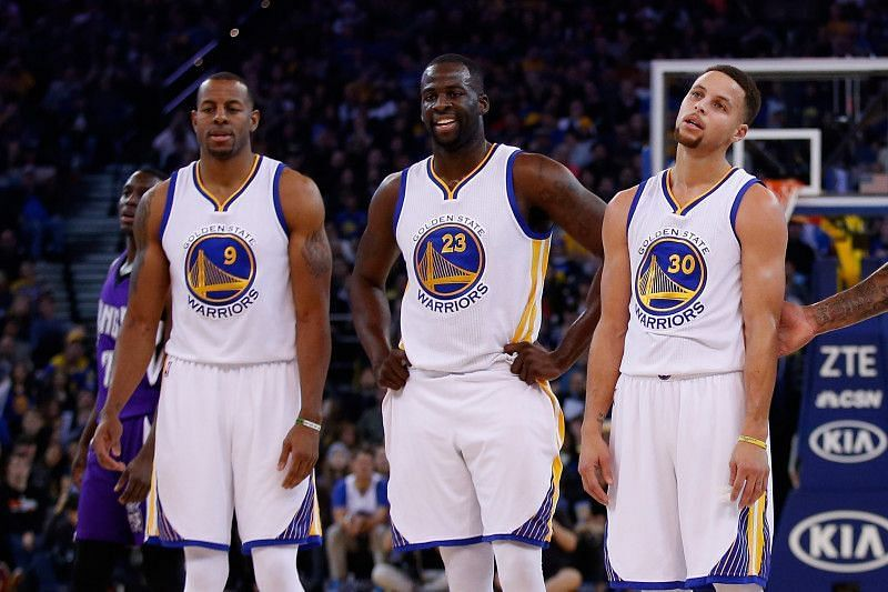 Andre Iguodala, Draymond Green and Stephen Curry of the Golden State Warriors [Source: Bleacher Report]