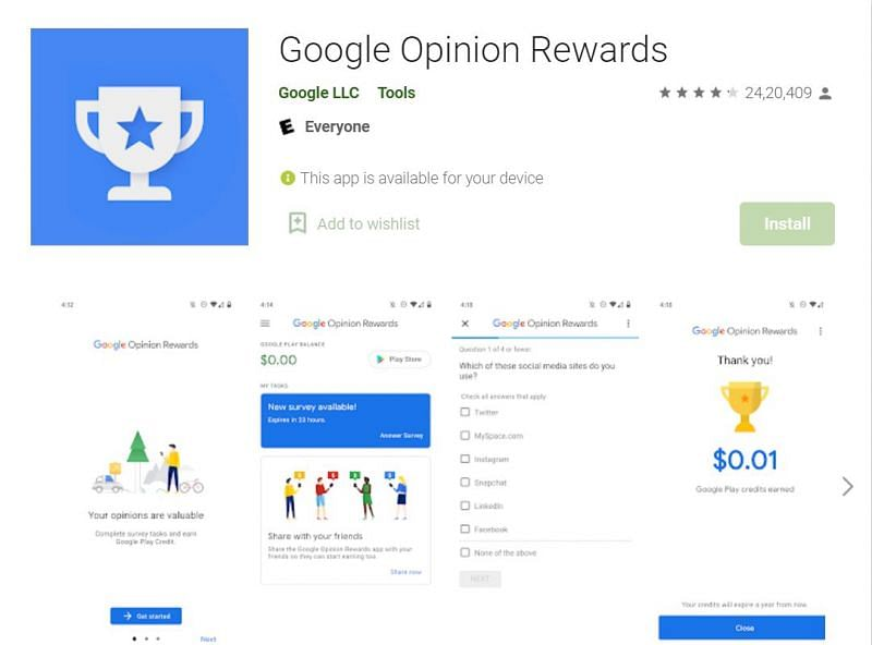 Google Opinion Rewards can provide players a chance to get diamonds (Image via Google Play Store)