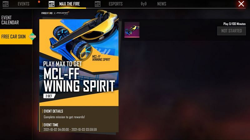 A claim button would be present next to the car skin (Image via Free Fire)