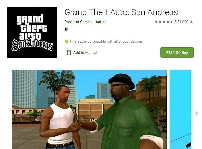 गूगल प्ले स्टोर पर GTA San Andreas (Image credit: google play store)
