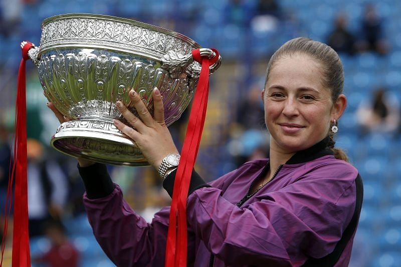 Jelena Ostapenko lifted the trophy in Eastbourne earlier this year