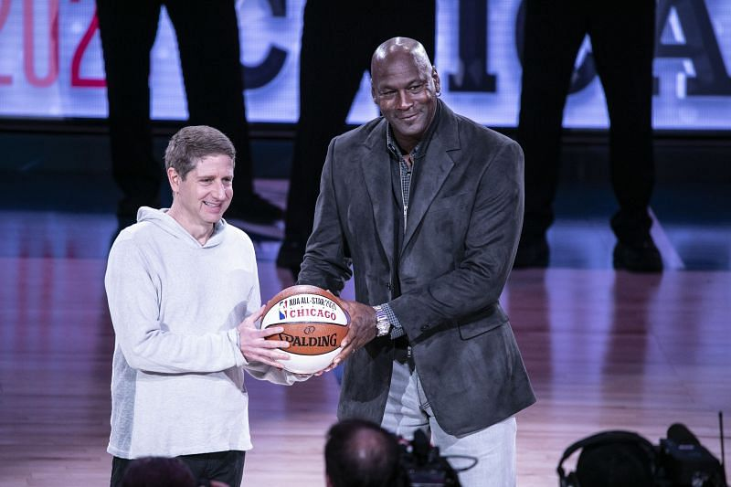 Chicago Bulls President/COO Michael Reinsdorf Jr. (L) accepts the ceremonial All-Star ball from Charlotte Hornets Chairman Michael Jordan at the 68th NBA All-Star Game on February 17, 2019 in Charlotte, North Carolina.