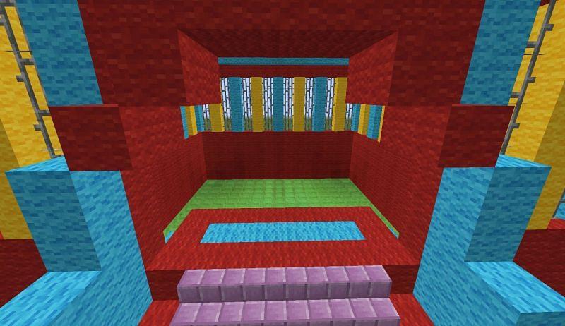 The inside of a Minecraft bouncy house (Image via Minecraft)