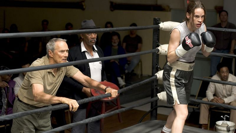 Clint Eastwood, Morgan Freeman and Hillary Swank in a still from Million Dollar Baby (Image via Twitter)