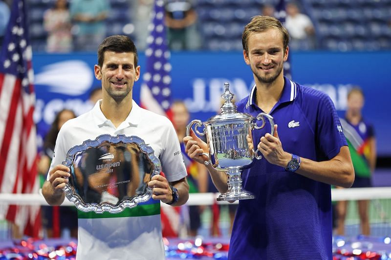 (L-R): Novak Djokovic & Daniil Medvedev with their trophies after the 2021 US Open final