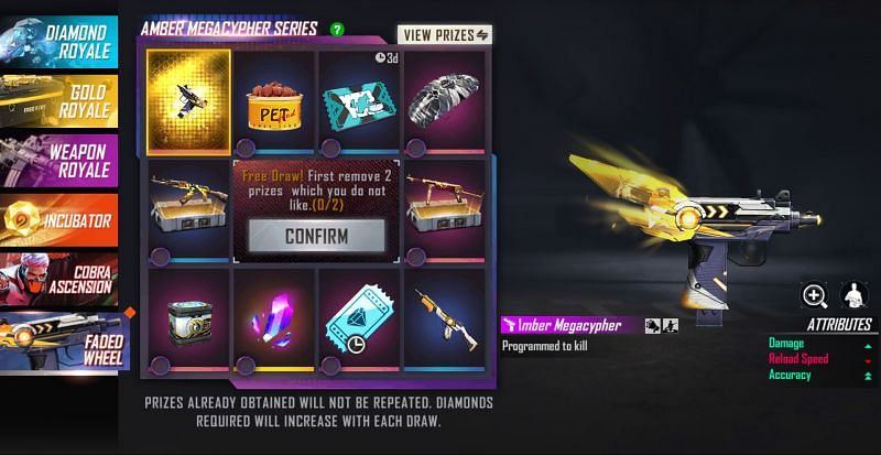 There are a total of ten items in the prize pool, of which users have to remove 2 (Image via Free Fire)