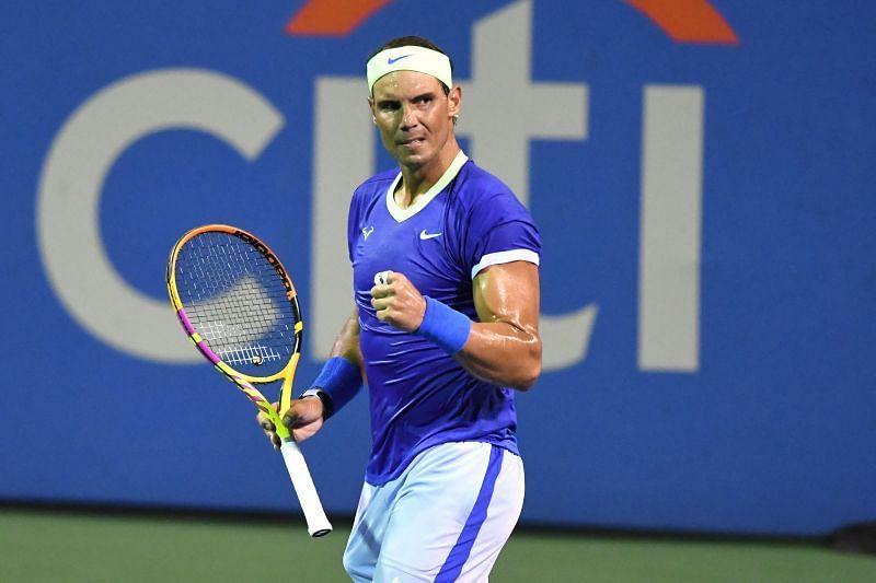 Rafael Nadal pumps his fist during the 2021 Washington Open