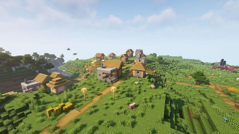 A plains village (Image via Minecraft)