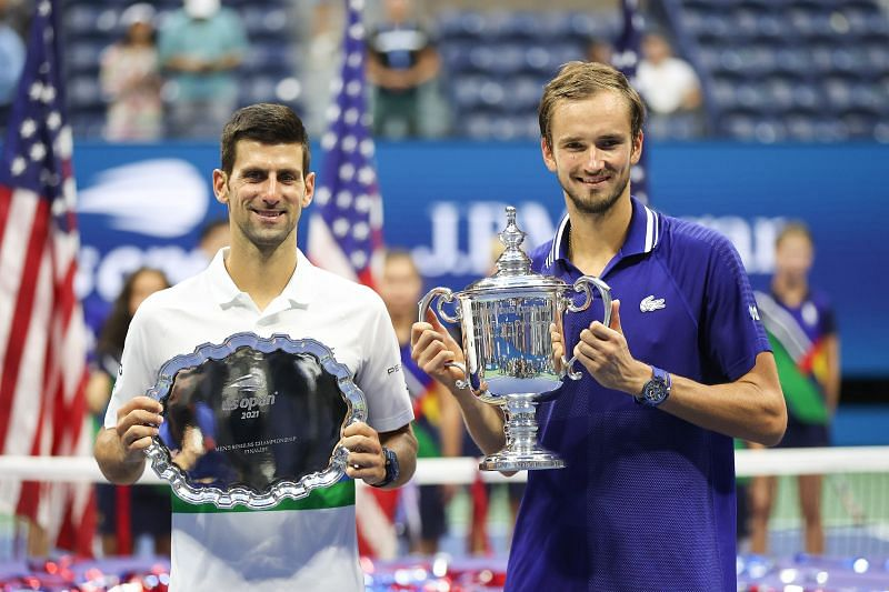 Novak Djokovic (L) and Daniil Medvedev (R)