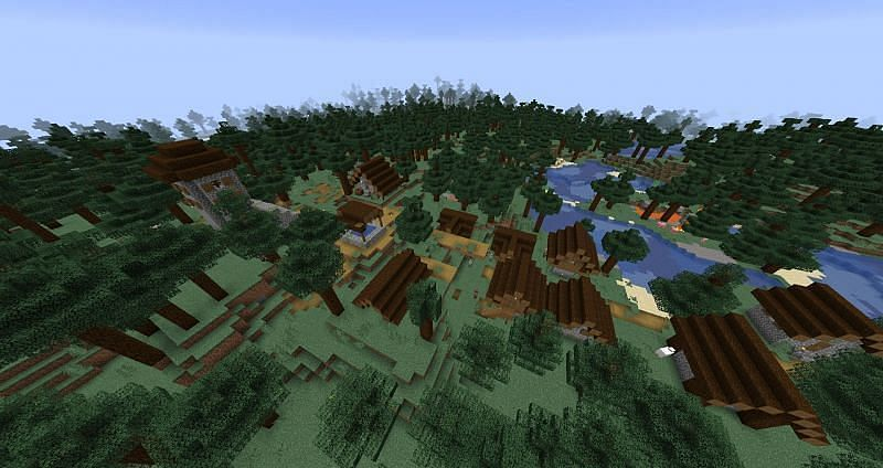 The taiga village (Image via Minecraft)