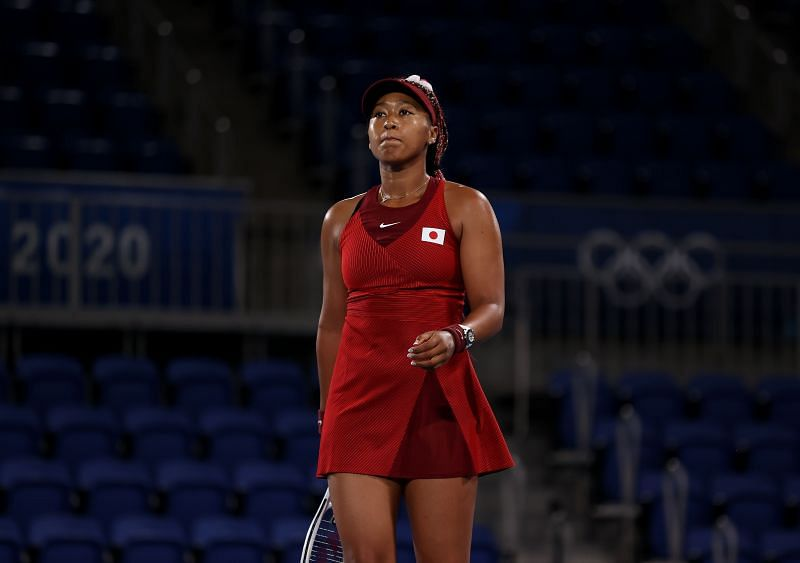 Naomi Osaka in action during the Tokyo Olympics