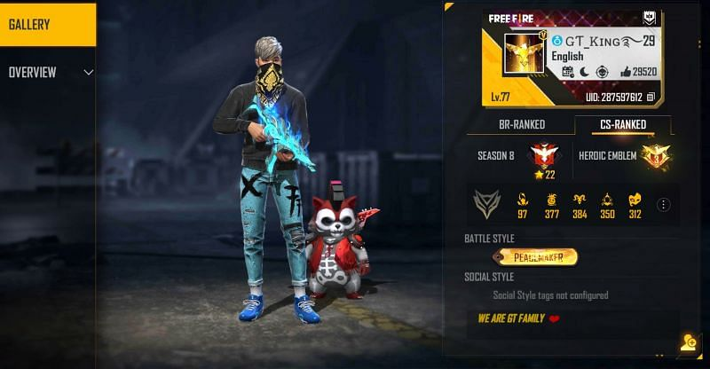 GT King is placed in the Heroic tier in Free Fire's Clash Squad mode (Image via Free Fire)