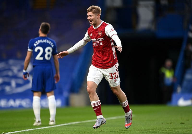 Emile Smith Rowe celebrates after scoring against Chelsea