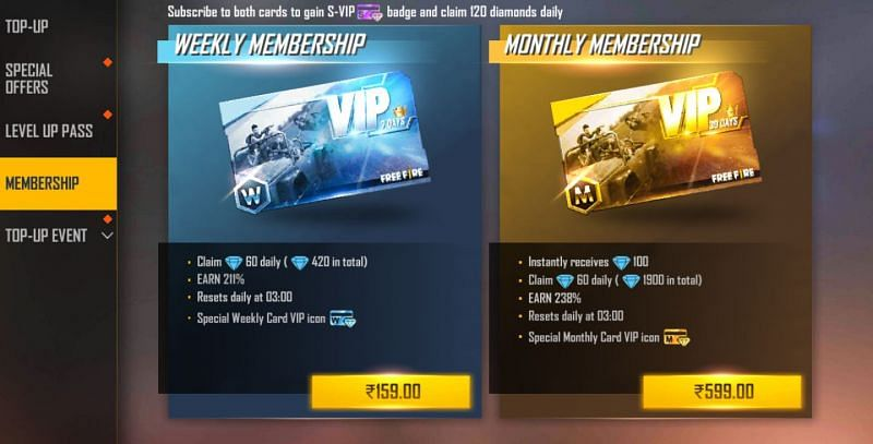 Memberships in the battle royale title (Image via Free Fire)