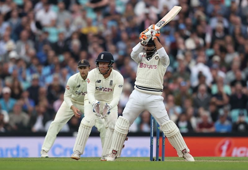 Ravindra Jadeja bats during The Oval Test. Pic: Getty Images
