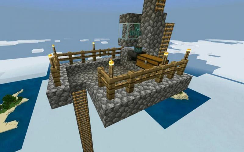 Image of the killing platform of a Minecraft trident farm. (Image via Minecraft)