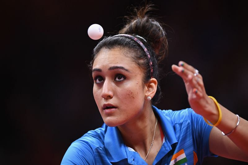 Table tennis star Manika Batra in action during the Tokyo Olympics
