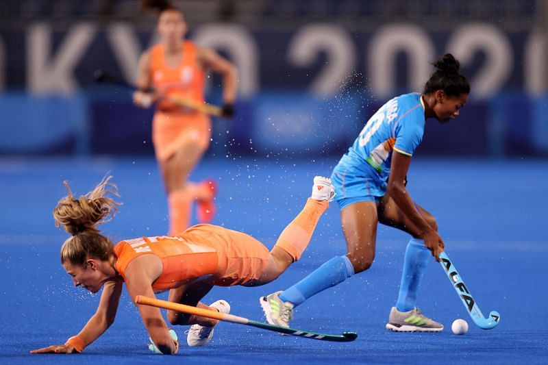 India's Salima Tete (right) in action against The Netherlands.