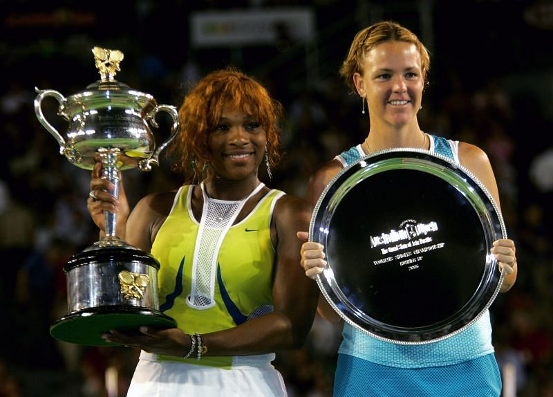 Serena Williams and Lindsay Davenport at the 2005 Australian Open