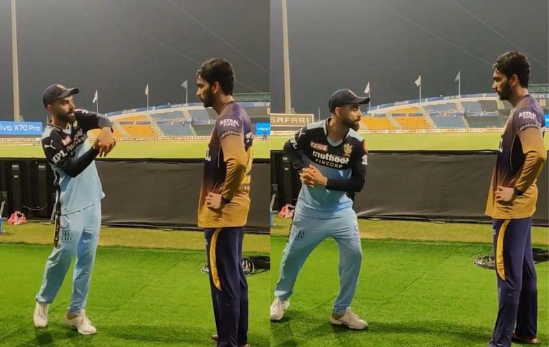 Virat Kohli giving batting tips to Venkatesh Iyer after the KKR vs RCB game on Monday