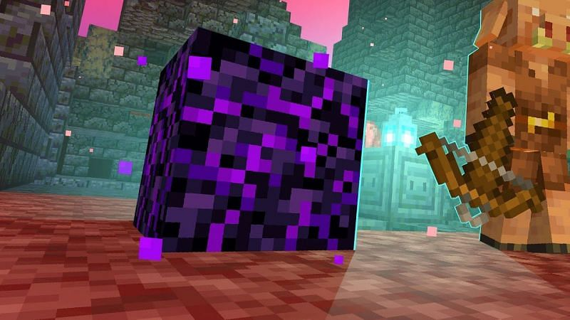 Crying obsidian is significantly rarer than its standard counterpart, but it is a core component in creating a respawn anchor (Image via Mojang)