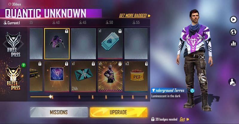The Underground Terrestrial T-Shirt is the reward for collecting 40 badges (Image via Free Fire)