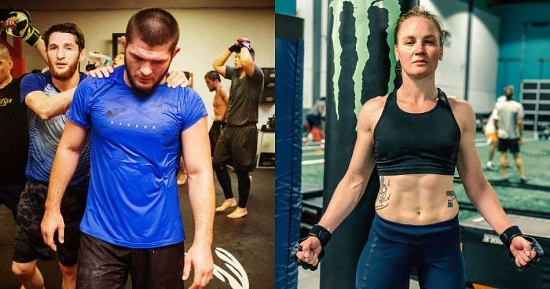 Khabib Nurmagomedov (left) Valentina Shevchenko (right) [Images Courtesy: @khabib_nurmagomedov @bulletvalentina on Instagram]