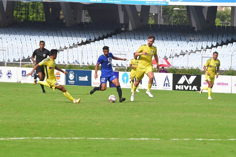 Kerala Blasters received three red cards in the second half as they lost 2-0 to Bengaluru FC. Image Credits: durandcup.in