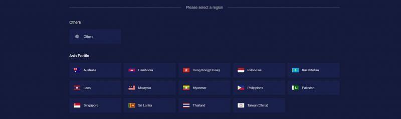 Lista de países que aparecem no site (imagem via Midasbuy)