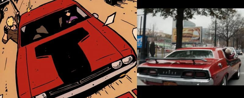 """The """"Cherry"""" Dodge Challenger in the trailer and comics (Image via Marvel)"""