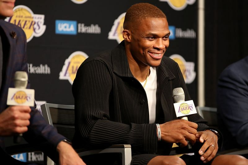Los Angeles Lakers introduce Russell Westbrook.