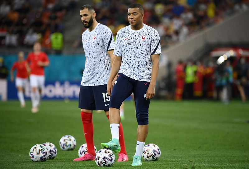 Karim Benzema and Kylian Mbappe while training for France