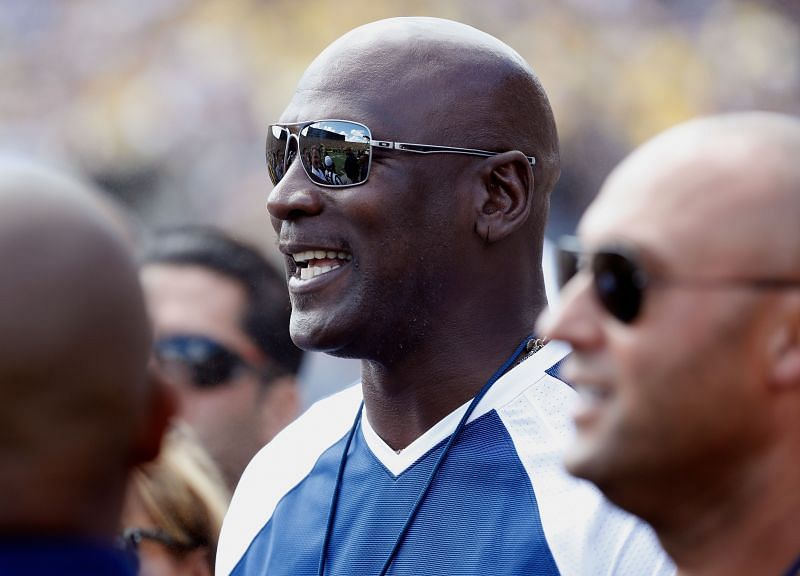 Former NBA star Michael Jordan looks on prior to a game between the Michigan Wolverines and Hawaii Warriors on September 3, 2016 at Michigan Stadium in Ann Arbor, Michigan.