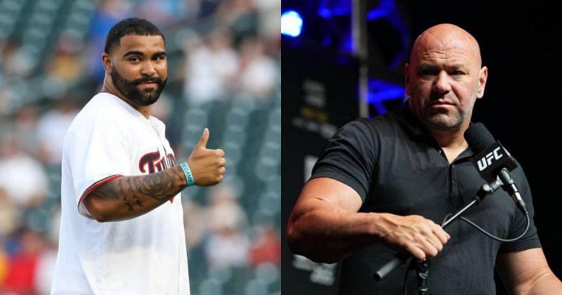 Olympic star Gable Steveson (left) and UFC president Dana White (right)