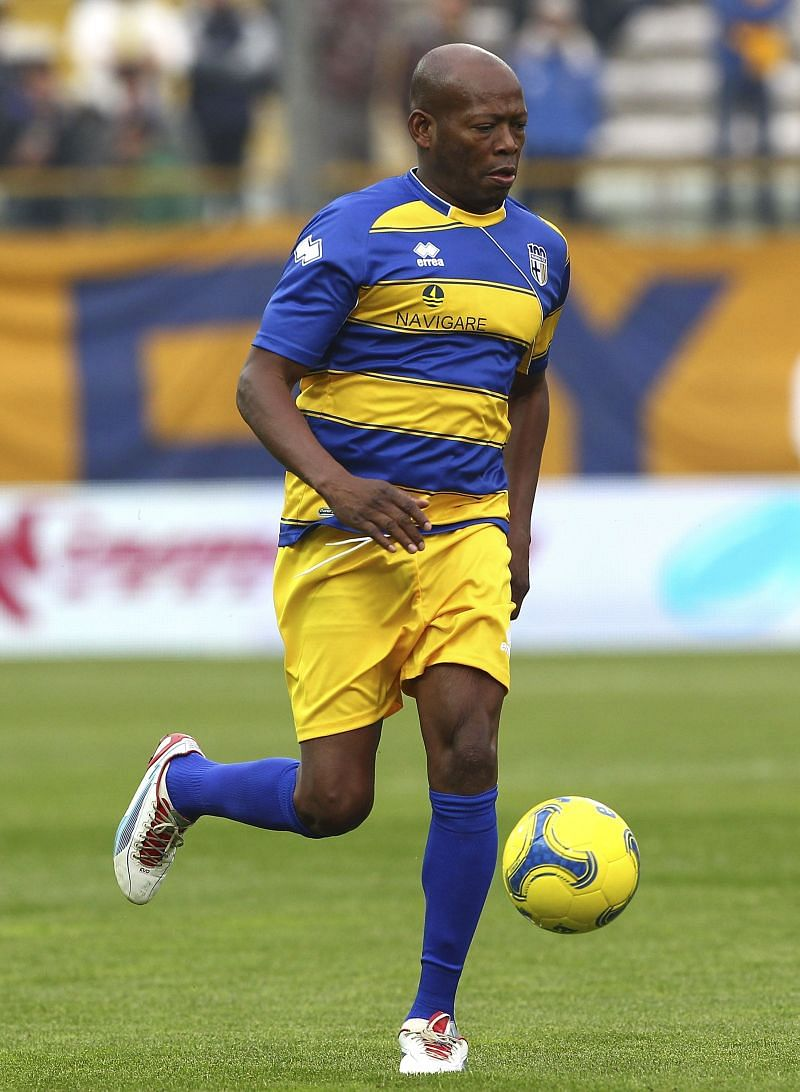 Faustion Asprilla during Parma's 100th anniversary match.