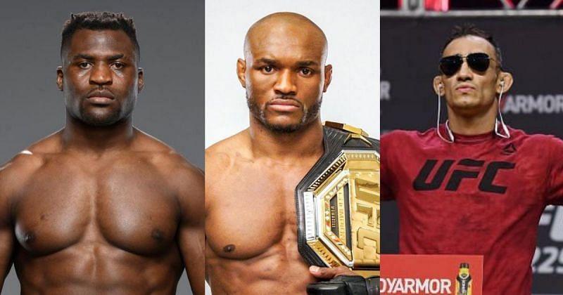 Francis Ngannou (left), Kamaru Usman (center), Tony Ferguson (right) [@usman84kg and @francisngannou via Instagram]
