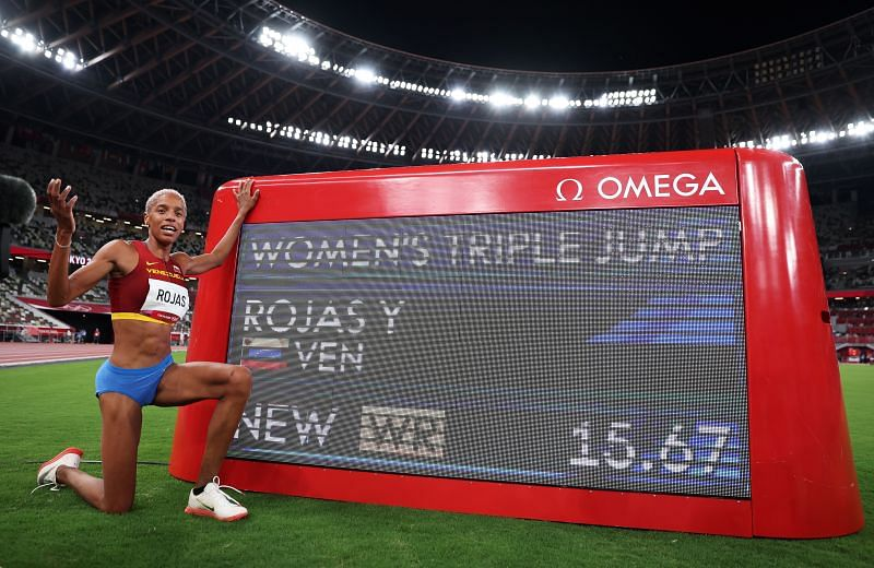 Yulimar Rojas after setting a new world record at the Tokyo Olympics