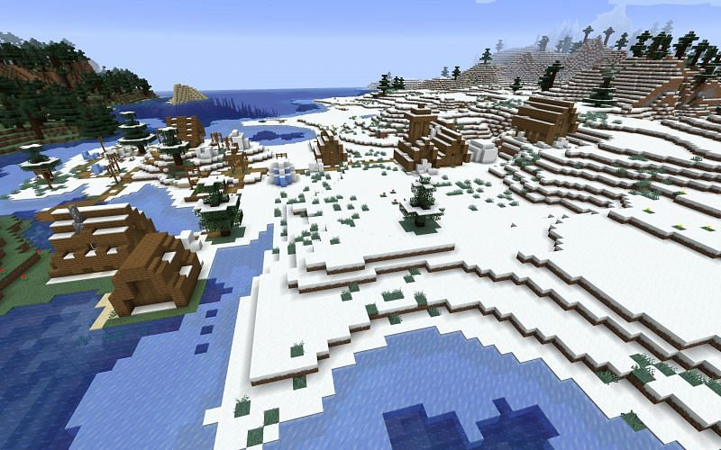 The snowy village (Image via Minecraft)