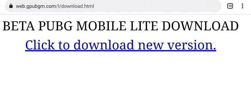 Os jogadores podem baixar diretamente a versão beta no telefone a partir do link fornecido (imagem via web.gpubgm.com)