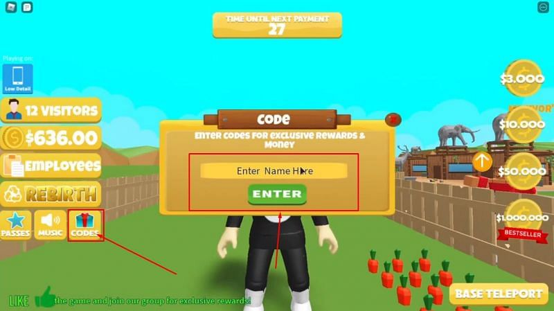 Roblox Zoo Tycoon has a very user-friendly code input system (Image via Loaded Studios)