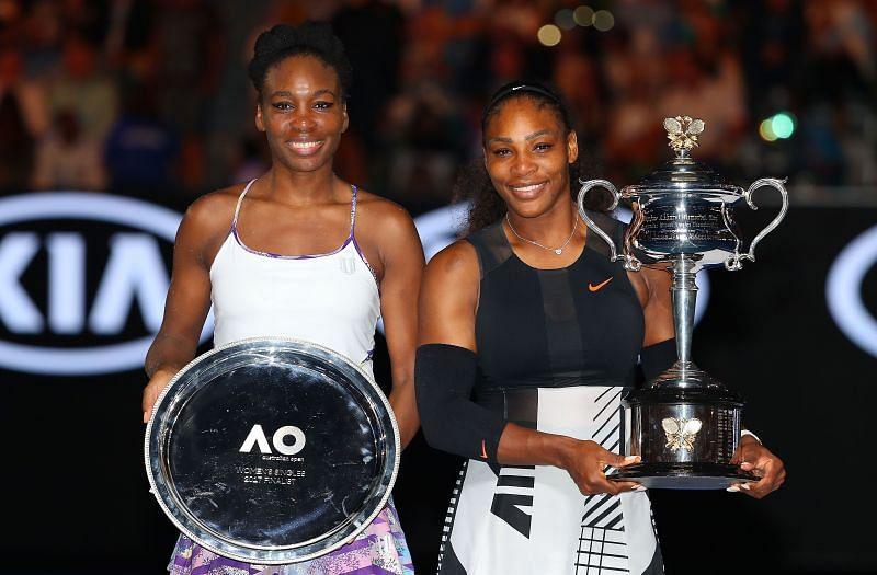 Serena Williams (R) and Venus Williams (L) at the 2017 Australian Open.