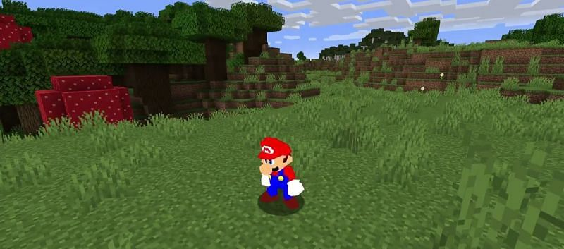 Mario in Minecraft (Image via pdxdylan on Twitter)