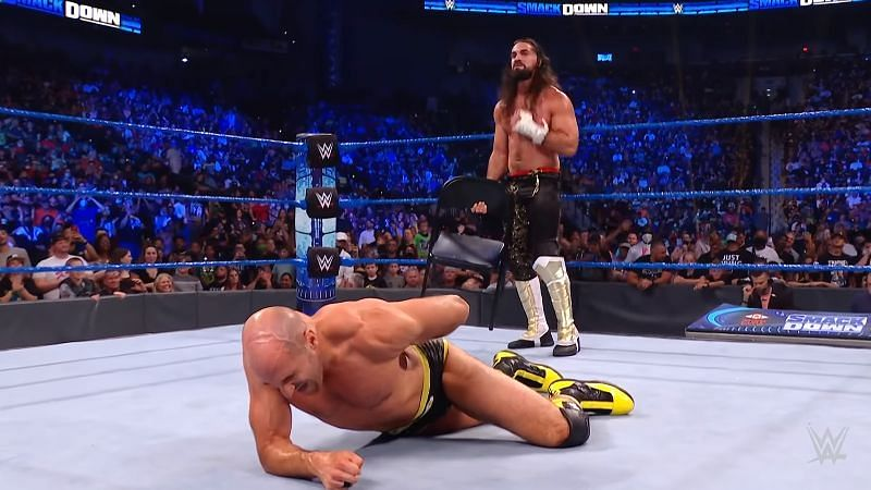 Seth Rollins attacked Cesaro with a steel chair after their match