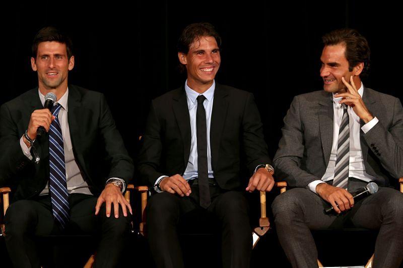 Novak Djokovic, Rafael Nadal and Roger Federer (L to R)