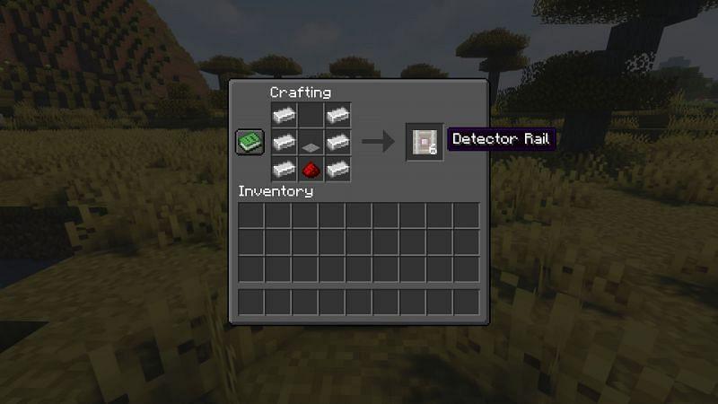 Crafting recipe for detector rails (Image via Minecraft)