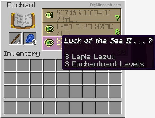 Getting the Luck of the Sea enchantment with an enchantment table (Image via Minecraft)